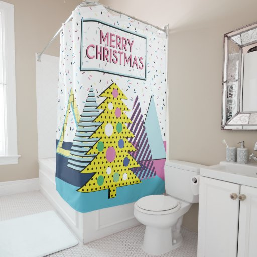 Modern Colorful Christmas Design - Memphis Style Shower Curtain