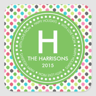 Modern Colorful Christmas Personalized Holidays Square Sticker
