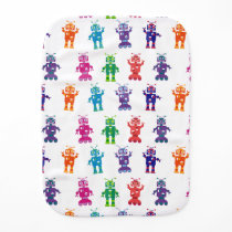 Modern Colorful Crazy Robot Baby Burp Cloth