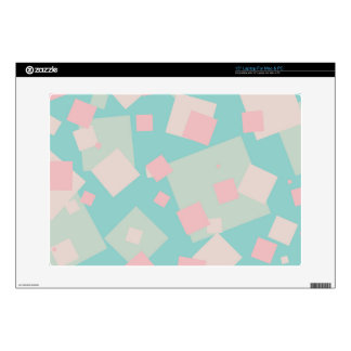 Modern colorful cyan and pink boxes pattern decals for laptops