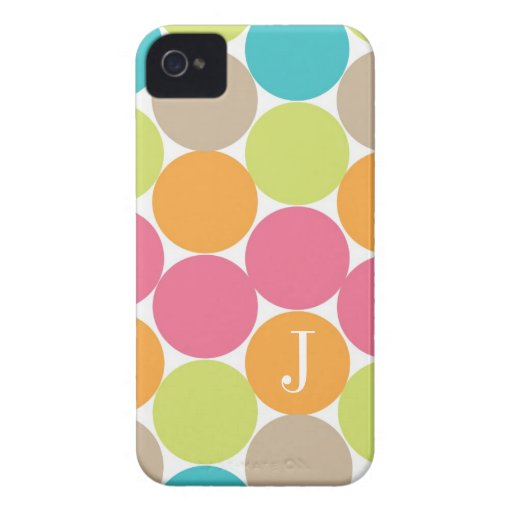 Modern Colorful Dots Personalized iPhone 4 Case