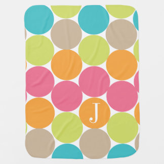 Modern Colorful Dots Personalized Stroller Blanket