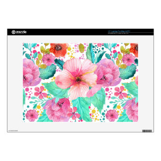 Modern Colorful Flowers Watercolors Laptop Decals