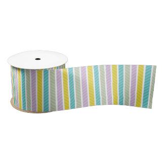 Modern Colorful Geometric Stripes Pattern Satin Ribbon