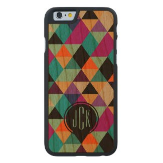 Modern Colorful Geometric Triangles Pattern 2b Carved® Cherry iPhone 6 Case