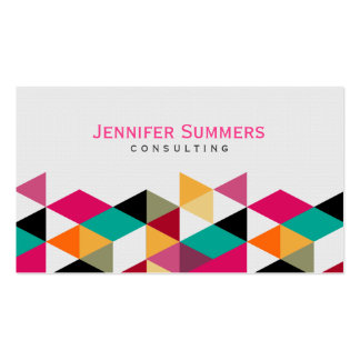 Modern Colorful Geometric Triangles Pattern 4a Business Card