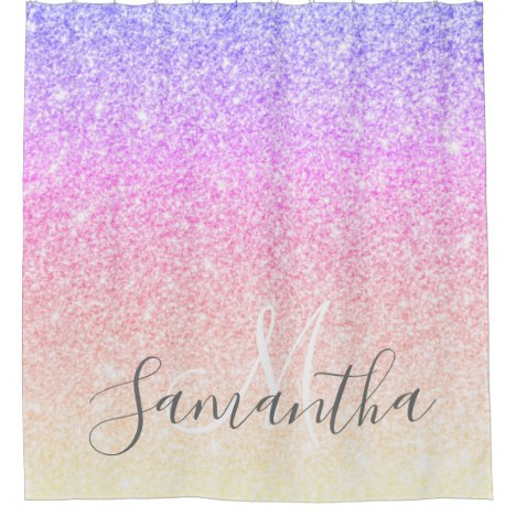 Modern Colorful Glitter Sparkles Personalized Name Shower Curtain