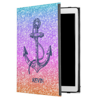 Modern Colorful Glitter Texture & Blue Boat Anchor iPad Pro Case