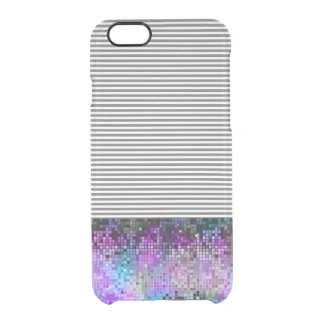 Modern Colorful Glitter With White & Gray Stripes Clear iPhone 6/6S Case