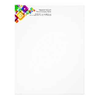 Modern, colorful graphic abstract squares pattern… letterhead