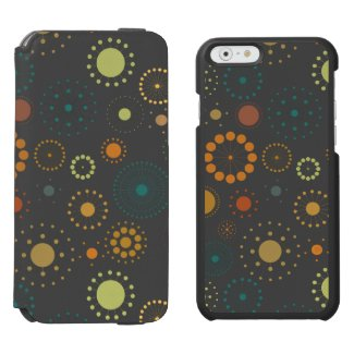 Modern Colorful & Gray Abstract Stars & Circles Incipio Watson™ iPhone 6 Wallet Case