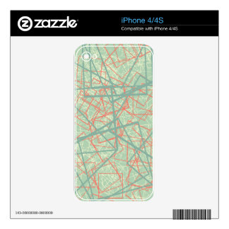 Modern colorful green and orange boxes pattern iPhone 4 decals