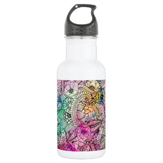 Modern colorful hand drawn flowers watercolor wash 18oz water bottle