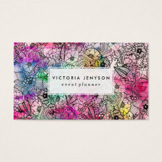 Modern colorful hand drawn flowers watercolor wash business card