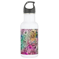 Modern colorful hand drawn flowers watercolor wash water bottle