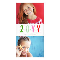 Modern Colorful Happy New Year Photo Collage Card