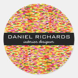 Modern Colorful Interior Designer Branding Classic Round Sticker