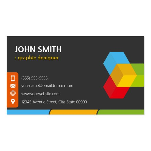 Modern Colorful Logo - Double Sided Design Business Cards