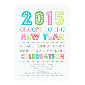 """Modern Colorful New Years Eve Party Invitation 5"""" X 7"""" Invitation Card"""