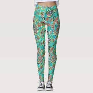 Modern Colorful Paisley Leggings