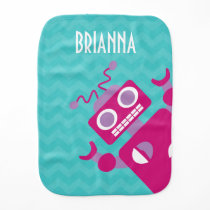 Modern Colorful Pink Orange Robot Teal Burp Cloth