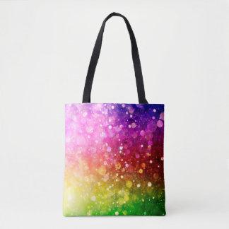 Modern Colorful Rainbow Bokeh Glitter Print Tote Bag