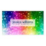 Modern Colorful Rainbow Glitter Burst Business Card