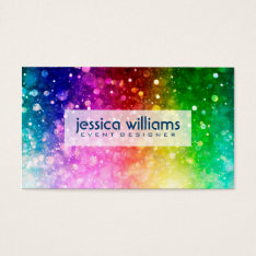 Modern Colorful Rainbow Glitter Burst Business Card at Zazzle