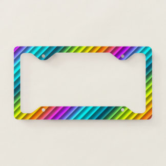 Modern Colorful Rainbow Stripes Pattern License Plate Frame