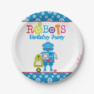 Modern Colorful Robots Boy Birthday Paper Plate