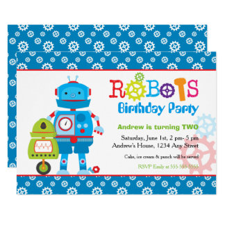 Modern Colorful Robots Boy Birthday Party Card