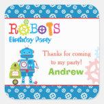 Modern Colorful Robots Boy Birthday Party Square Sticker