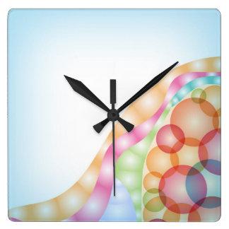 Modern colorful sphere design square wall clock
