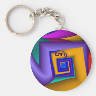Modern colorful spiral Keychain with Name