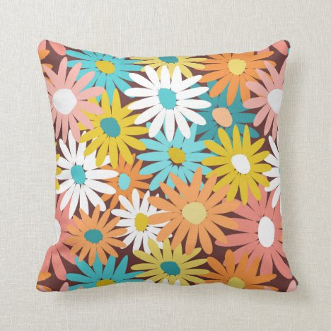 Modern colorful spring daisies throw pillow