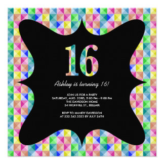 Modern Colorful Sweet 16 Invitations