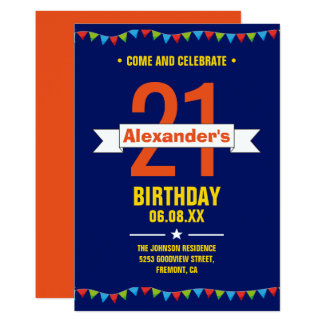 Modern Colorful Typography 21st Birthday Party Card