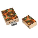 Modern colorful unique pattern wood USB 2.0 flash drive