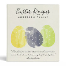 MODERN COLORFUL WATERCOLOR EASTER EGG RECIPES GIFT 3 RING BINDER