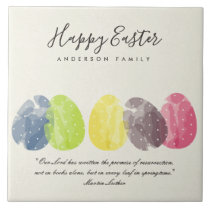 MODERN COLORFUL WATERCOLOR EASTER EGGS EASTER GIFT CERAMIC TILE