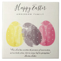MODERN COLORFUL WATERCOLOR EASTER EGGS GIFT CERAMIC TILE