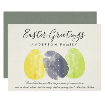 Bride Themed MODERN COLORFUL WATERCOLOR EASTER EGGS MONOGRAM CARD