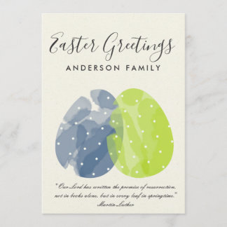 MODERN COLORFUL WATERCOLOR EASTER EGGS MONOGRAM HOLIDAY CARD