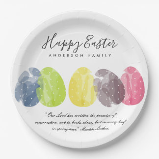MODERN COLORFUL WATERCOLOR EASTER EGGS PERSONALISE PAPER PLATE