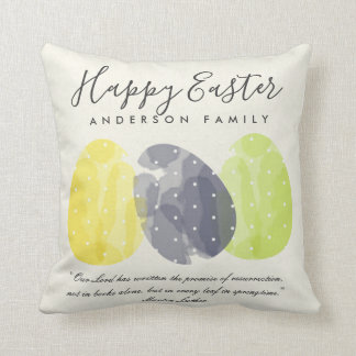 MODERN COLORFUL WATERCOLOR EASTER EGGS PERSONALIZE THROW PILLOW