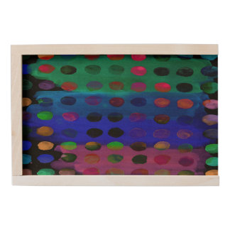 Modern Colorful Watercolor Spots and Stripes Wooden Keepsake Box