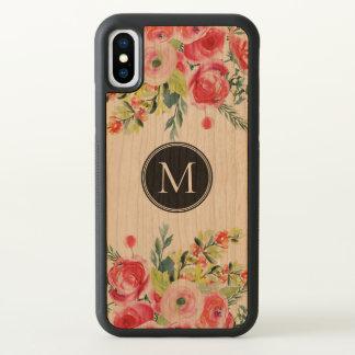 Modern Colorful Watercolors Flowers Monogram iPhone X Case