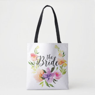 Modern Colorful Watercolors Wreath-The Bride Text Tote Bag