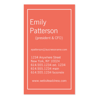Modern Colors :: Emberglow & White Business Card