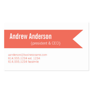 Modern Colors Emberglow & White Design 2 Card Double-Sided Standard Business Cards (Pack Of 100)